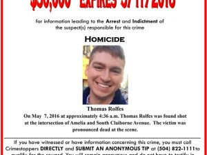 Reward for the arrest of suspect on Thomas Rolfes's homicide Photo