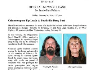 Crimestoppers tips lead to drug bust in Boothville Photo